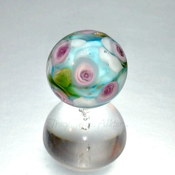 Purple Rose Paperweight Beada